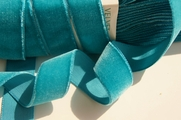 French Teal Velvet Ribbon by the Yard 24mm