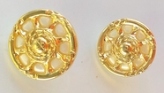 Gold Cart Wheel Shaped Metallic Shank Buttons (6 pcs)
