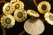 "Gold Flower Vintage Shank Buttons 11/16"" inch (12 pcs)"