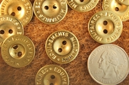 "Gold Metal Vintage 2 Hole Buttons 3/4"" inch (10 pcs)"