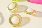 "Gold Plastic Pearl Shank Vintage Fashion Buttons 7/8"" inch (15 pcs)"