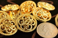 "Gold Shank Vintage Fashion Buttons 1"" inch (8 pcs)"