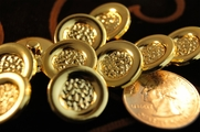 """Gold Shank Vintage Fashion Buttons 11/16"""" inch (15 pcs)"""