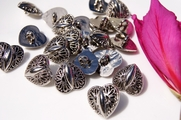 "Heart Silver Shank Vintage Buttons 11/16"" inch (10 pcs)"