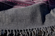 High End Berry Panel Striped Grey Wool Fringe Fabric WL-9