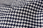 Houndstooth Wool Flannel Blend  - Navy Off White # UU-750