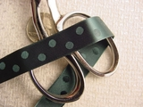 Hunter Green Satin Polka Dot Jacquard Ribbon #-WR-144