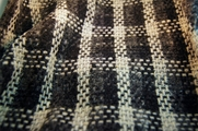 Italian Wool Coating Fabric Ivory Grey Plaid 5 yards