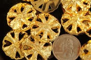"Metallic Gold Flower Shank Vintage Buttons 1"" inch (10 pcs)"