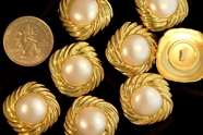 "Metallic Gold Shank Pearl Buttons 1"" inch (16 pcs)"