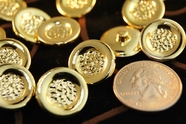 "Metallic Gold Shank Vintage Buttons 11/16"" inch (15 pcs)"