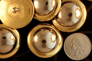 """Metallic Gold Vintage Shank Silver Dome Buttons 1 1/4"""" inch (8 pcs)"""