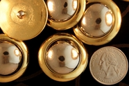 "Metallic Gold Vintage Shank Silver Dome Buttons 1 1/4"" inch (8 pcs)"