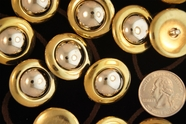 "Metallic Gold Vintage Shank Silver Dome Buttons 1"" inch (12 pcs)"