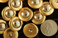 Metallic Gold Vintage Shank Silver Dome Buttons 3/4 inch (10 pcs)