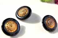 """Old Fashioned Vintage Metallic Gold Shank Black Buttons 1"""" inch (12 pcs)"""