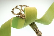 Old Lime French Velvet Ribbon Trim 22mm