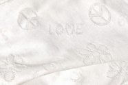 Pure White Cotton Knit Peace and Love Imprint Fabric # UU-147