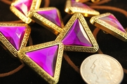 "Purple Gem Gold Triangle Vintage Shank Buttons 1 1/8"" inch (12 pcs)"
