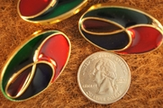 """Red, Blue, Green, Gold Vintage Shank Fashion Buttons 1 1/2"""" x  7/8"""" inch (15 pcs)"""