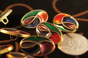 "Red, Blue, Green, Gold Vintage Shank Fashion Buttons 1"" x  5/8"" inch (15 pcs)"