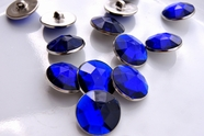 "Royal Blue Gem Silver Shank Vintage Buttons 7/8"" inch (8 pcs)"