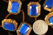 "Royal Blue Gem Vintage Gold Shank Buttons 1"" inch (12 pcs)"