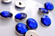 "Royal Blue Gem Vintage Silver Shank Buttons 1"" inch (6 pcs)"