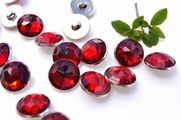 "Ruby Red Gem Silver Rim Vintage Shank Buttons 3/4"" inch (10 pcs)"