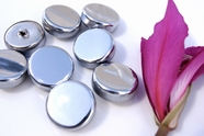 "Silver Metal Vintage Shank Buttons 1 1/8"" inch (8 pcs)"