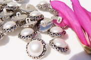 """Silver Pearl Shank Vintage Fashion Buttons 7/8"""" inch (10 pcs)"""