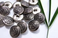 "Silver Shank Vintage Embossed Metal Buttons 3/4"" inch (10 pcs)"