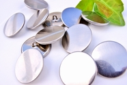 "Silver Vintage Shank Metal Buttons 1 1/8"" inch (8 pcs)"