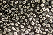 Stretch Cotton Floral Print Fabric White Gray Floral on Black 15 yards