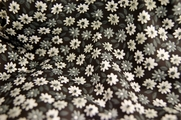 Stretch Cotton Floral Print Fabric White Gray Floral on Black 25 yards