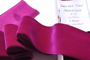Swiss Satin Back Fuchsia Wine Velvet Ribbon 58mm