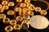 "Vintage 2 Hole Gold Shirt Buttons 3/8"" inch (15 pcs)"