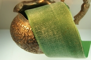 Vintage Antique Green French Satin Back Cotton Silk Velvet Ribbon 50mm