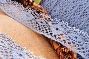 "1-1/4"" Dusty Blue Vintage Lace Trim"