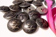 "Vintage Embossed Eagle Shank Metal Buttons 1"" inch (6 pcs)"