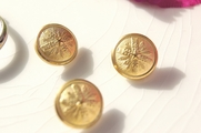 "Vintage Embossed Metal Gold Shank Buttons 5/8"" inch (10 pcs)"