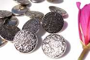"Vintage Embossed Silver Metal Shank Buttons 1 1/8"" inch (6 pcs)"