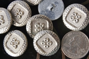 "Vintage Embossed Silver Metal Antique Shank Buttons 7/8"" inch (12 pcs)"