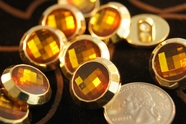 "Vintage Gem Look Metallic Gold Buttons 3/4"" inch (15 pcs)"