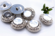 "Vintage Glass Dome Silver Shank Coat Buttons 1 1/2"" inch (6 pcs)"
