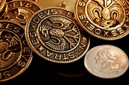 """Vintage Gold Embossed Metal Buttons 1 1/2"""" inch (4 pcs)"""