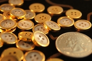 "Vintage Gold Rim 4 Hole Buttons 1/2"" inch (15 pcs)"