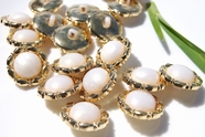 "Vintage Gold Rimmed Plastic Pearl Buttons 3/4"" inch (12 pcs)"