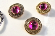 "Vintage Metallic Gold Shank Pink Gem Buttons 1"" inch (8 pcs)"