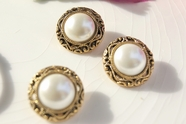 """Vintage Gold Metallic Shank Faux Pearl Buttons 7/8"""" inch (8 pcs)"""